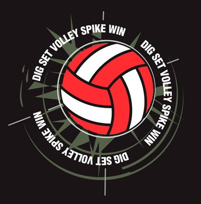 DIG SET VOLLEY SPIKE WIN VOLLEYBALL T-SHIRT XL NEW