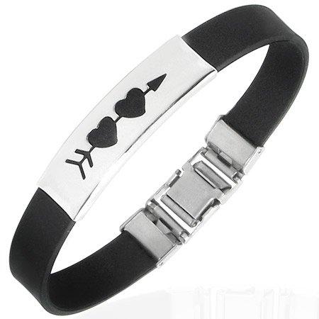 Arrow Through Two Hearts Stainless Bracelet