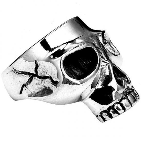 Mens Sterling Silver Half Jaw Skull Ring