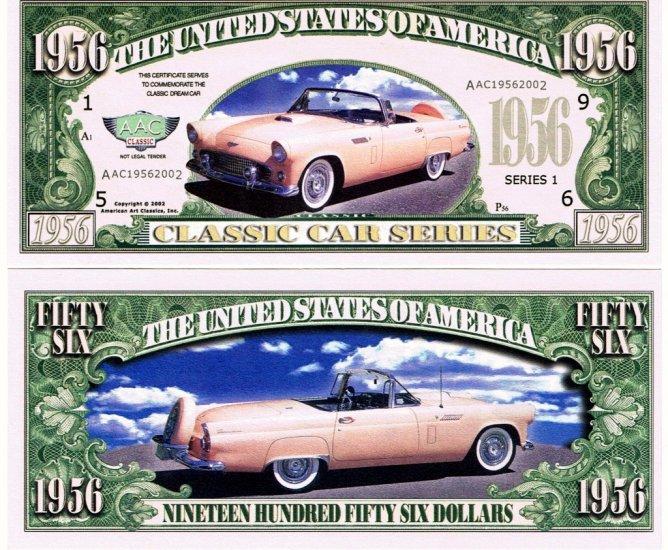 1956 Ford Thunderbird Classic Car Novelty Dollar Bill