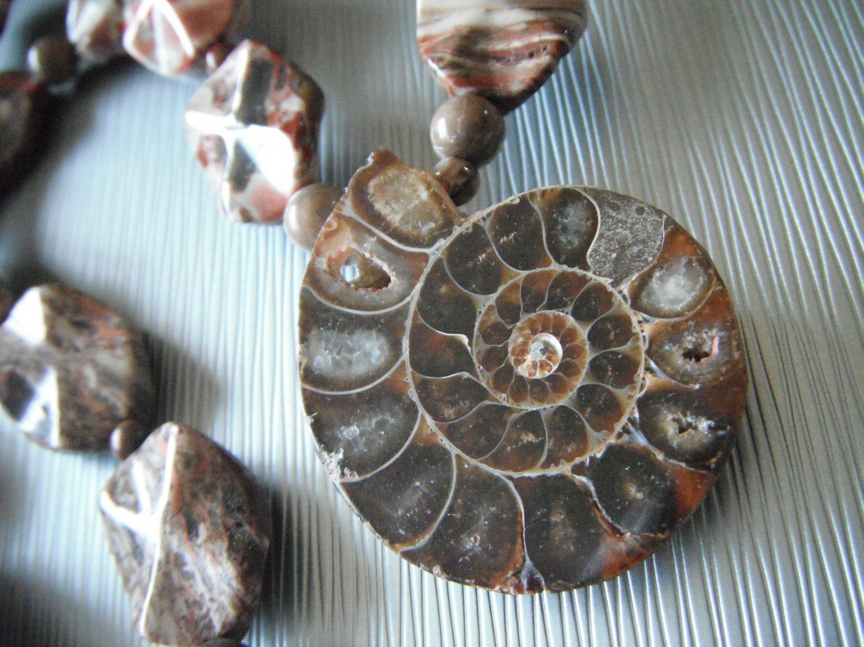 Red Jasper and Ammonite