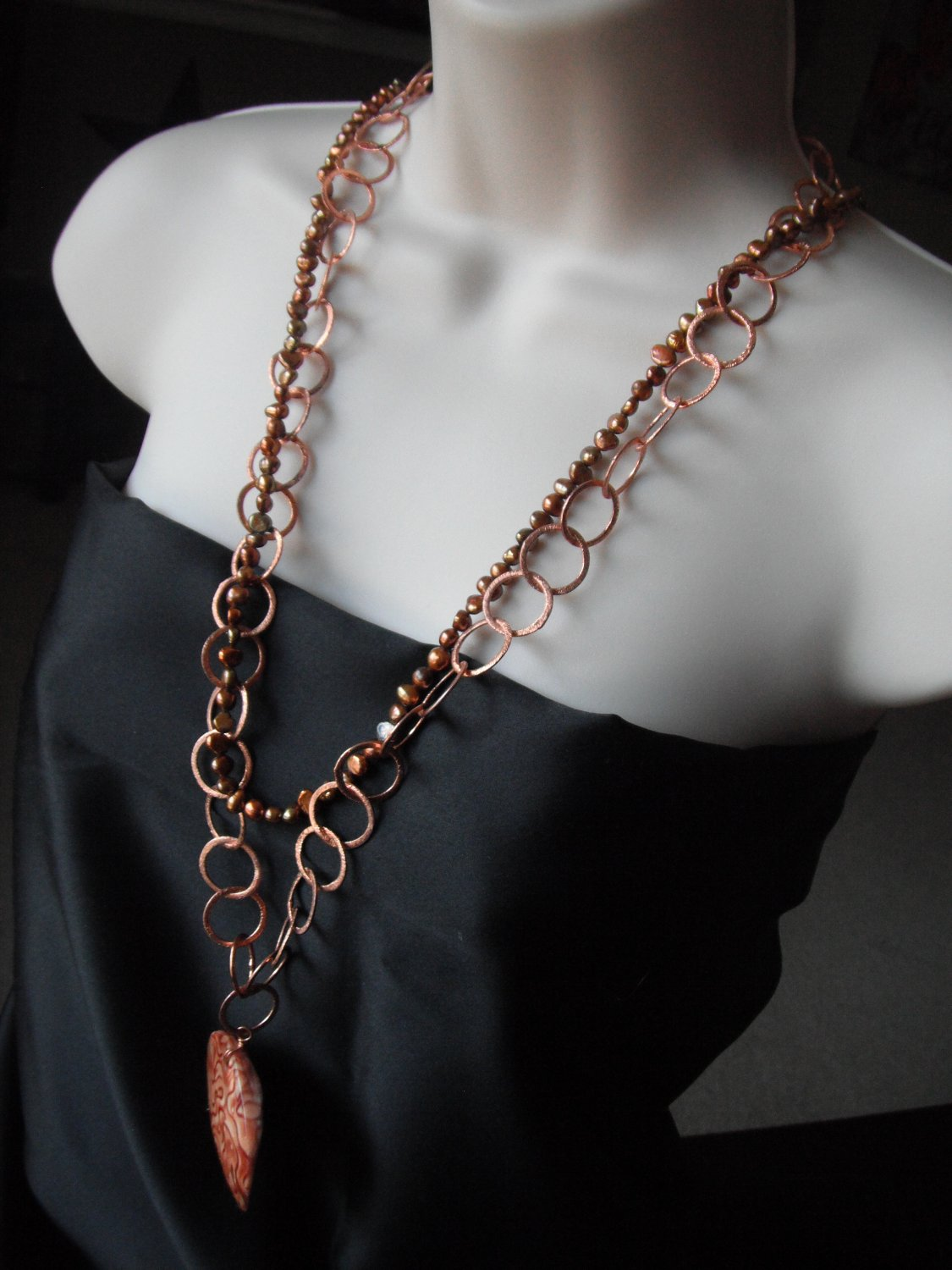 Copper, Freshwater Pearls, Painted Mother of Pearl