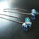 """""""Threader"""" Earrings with Multi-blue Swarovski Dangles"""