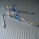 Hammered Sterling Dangles with Blue Swarovski Crystals