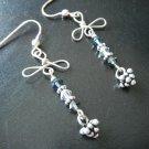Sapphire Blue and Smokey Swarovski Crystal Earrings