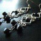 Black Swarovski Crystals with Sterling Silver