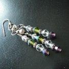 Purple, White and Green Swarovski Crystal Earrings