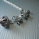 Sterling Silver Chain with Dangle, Smokey Color Swarovski Crystal