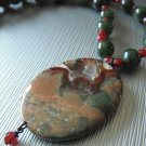Nephrite Jade, Faceted Carnelian with Rhyolite Centerpiece Necklace