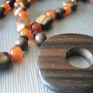 Tiger Eye, Carnelian, Garnet and Petrified Wood Necklace