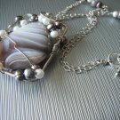 Botswana Agate and Freshwater Pearl Necklace