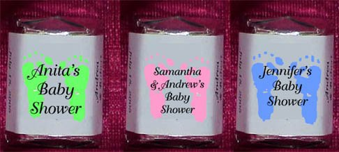 150 Baby Shower - BABY FOOTPRINTS  THEMED Nugget Candy Wrappers Favors