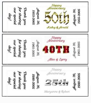 150 - 25th 40th 50th ANNIVERSARY Candy Labels Wrappers Favors