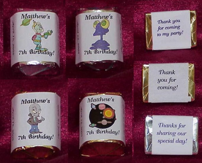 150 Birthday SPACE ALIEN THEMED Candy Labels Wrappers Favors