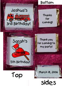 150 Birthday FIRETRUCK THEMED Candy Labels Wrappers Favors