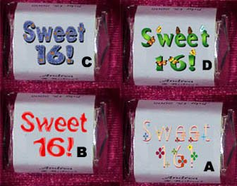 150 SWEET 16 THEMED BIRTHDAY PARTY custom CANDY Wrappers Favors