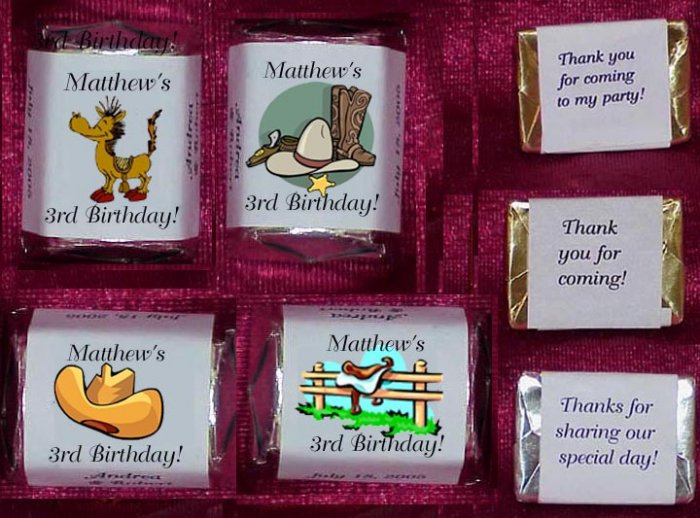 150 Birthday COWBOY GIRL  WESTERN THEMED Candy Labels Wrappers Favors