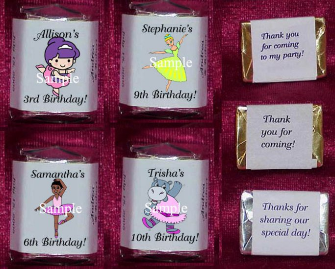 150 Birthday BALLERINA THEMED personalized Candy Wrappers Favors GIRL