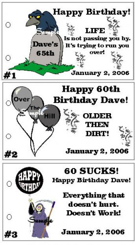 OVER THE HILL BIRTHDAY Party Lollipop Favors Tags