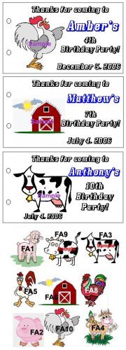 FARM ANIMALS BIRTHDAY Party Lollipop suckers Favors