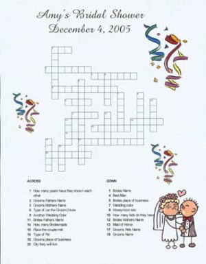 personalized custom bridal shower or wedding crossword puzzles