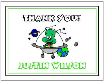 Kid SPACE ALIEN Birthday Thank You Cards Notes Kids