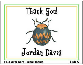 Kid BUG BUGS Birthday Thank You Cards Notes
