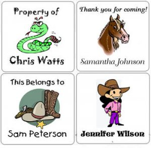 COWBOY WESTERN (self-stick) Gift Favor Tags