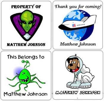 Space Alien (self-stick) Gift Favor Tags