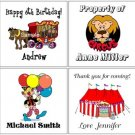 Circus (self-stick) Gift Favor Tags