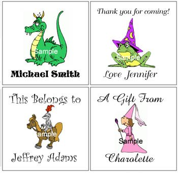 KNIGHTS PRINCESS DRAGONS  (self-stick) Gift Favor Tags