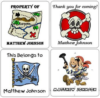 PIRATE  (self-stick) Gift Favor Tags