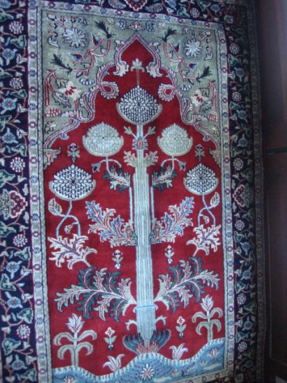"""""""THE TREE OF LIFE """" antique wool rug 4 x 6"""