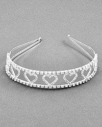 Silvertone Clear Rhinestone Heart Headband