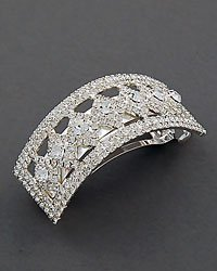 Clear Rhinestone Diamond Shape Barrette In Silvertone