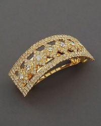 Clear Rhinestone Diamond Shape Barrette In Goldtone