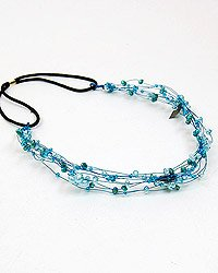 Blue Wire Headband With Freshwater Pearls