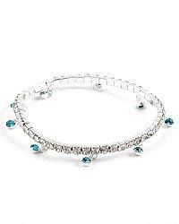 Silver (rhodium) Lead&nickel Free / Blue Rhinestones / Stretch / Anklet