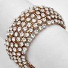 Goldtone / Clear Crystals / Stretch Bracelet