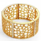 Gold Tone / Clear Crystal / Lead & Nickel Free / Stretch Bracelet