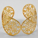 Gold Tone / Flower Design / Lead Free / Cuff / Bracelet