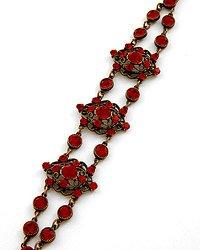 Black Nickel Tone / Red Crystals Bracelet