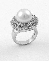 Silvertone / Clear Cubic Zirconia / White Faux Pearl
