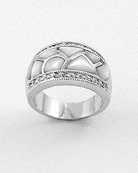 Silvertone / Clear Cubic Zirconia / Opal Semi Precious Gemstone