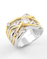 Silver Clear Gold / Cubic Zirconia Metal Ring