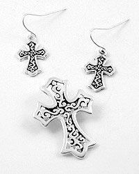Silver Tone  Hook (earrings) / Cross Pendant & Earring Set