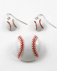 Silver Tone / Red & White Epoxy / Hook (earrings) / Baseball Pendant & Earring Set