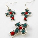 Silver Tone / Blue & Red Square Acrylic Beads / Hook (earrings) / Cross Pendant & Earring Set