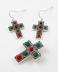 Silver Tone / Blue & Red Square Acrylic Beads / Hook (earrings) / Cross Pendant & Earring Set