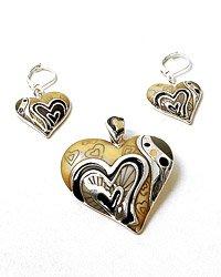 Silver Tone / Beige & Grey Epoxy/ Hook (earrings) / Heart Pendant & Earring Set